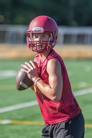 Prairie quarterback Jayson Maddux threw a spectacular 69-yard touchdown pass last week to Nolan Mickenham. Photo by Mike Schultz