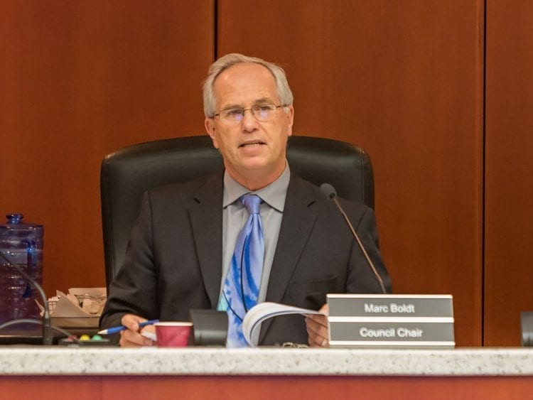 Clark County Chair Marc Boldt and his fellow councilors voted Tuesday to increase fees associated with private litigation for the sheriff's office and also to increase fire marshal fees associated with inspection of new construction projects. Photo by Mike Schultz