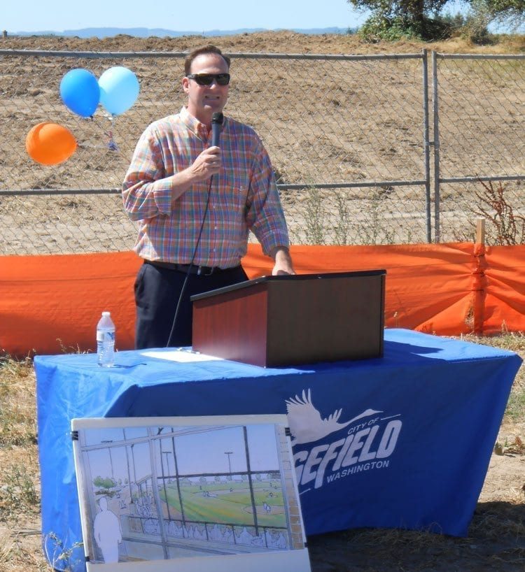 Ridgefield City Manager Steve Stuart was excited for the services the new outdoor complex would provide for the students of Ridgefield School District and the community as a whole. Photo by Alex Peru