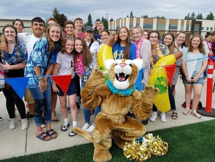 Sebastian the Cougar and students celebrate the first true home game for the Seton Catholic football program Saturday. Photo by Paul Valencia