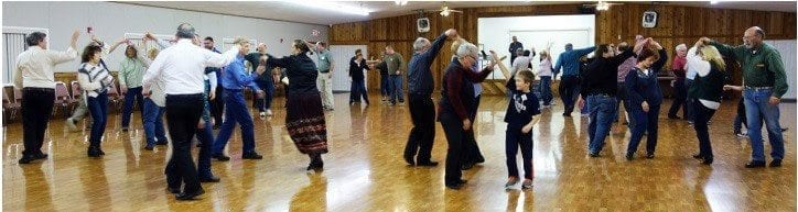 Jim Hattrick teaches a class on California Twirl. Photo courtesy of Liza Halpenny