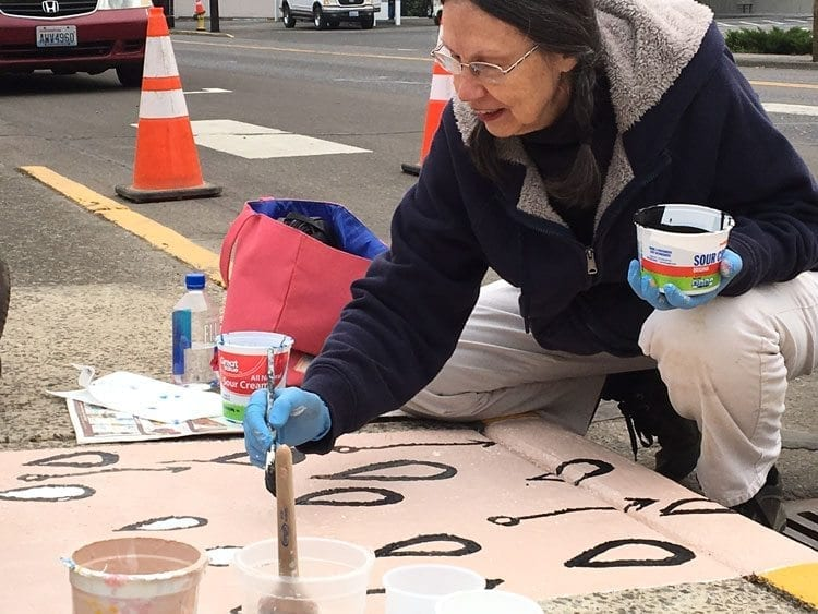 Artist Jane Poole contributed her talents to create art around storm drains in Battle Ground. Photo courtesy of city of Battle Ground