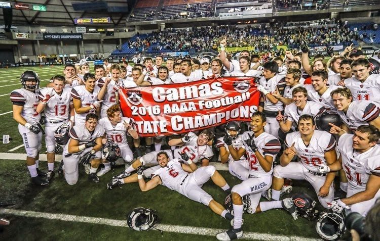 Camas made its way through the high school football playoffs last year to win the Class 4A state championship. Starting in 2018-19, teams in all sports could be seeded using the same RPI system used by the WIAA to seed teams in the basketball playoffs. Photo by Mike Schultz