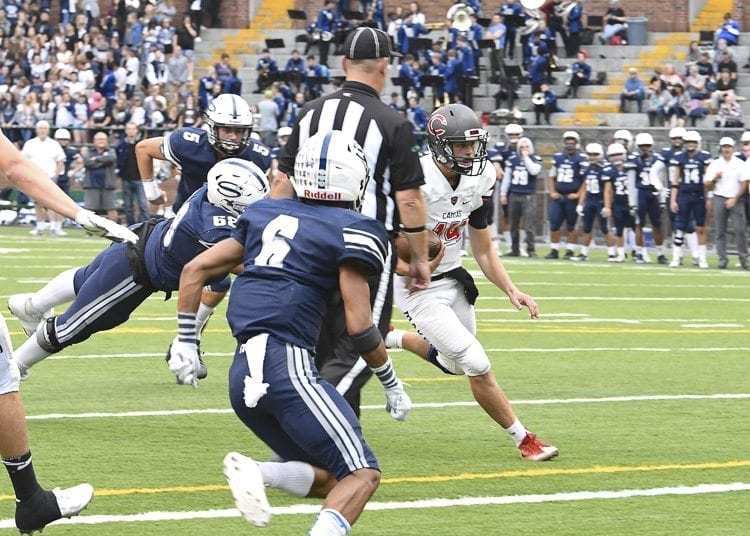 Camas quarterback Kyle Allen ran for this touchdown, plus he threw a TD pass in his team's 38-20 win over Skyview. Photo by Kris Cavin