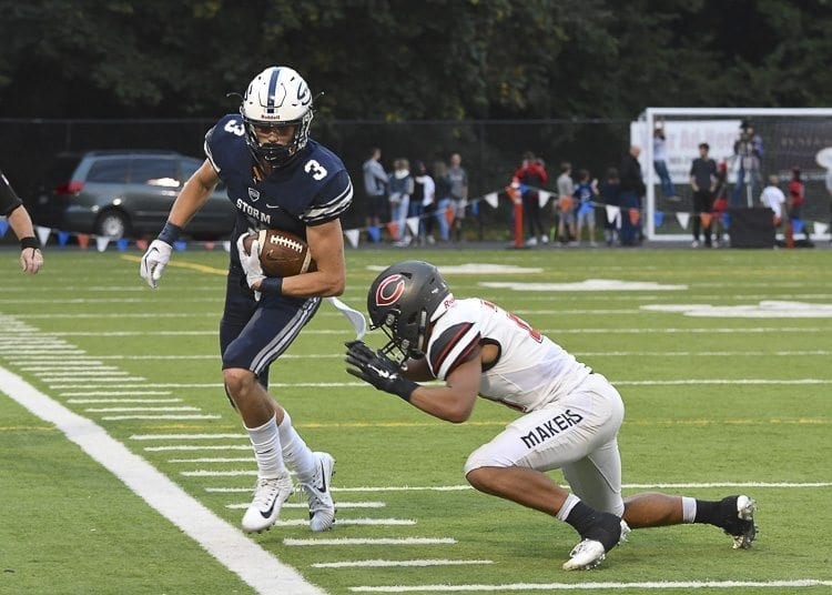 Skyview wide receiver Cole Grossman caught eight passes for 189 yards Friday night, a huge effort in a loss to Camas. Photo by Kris Cavin
