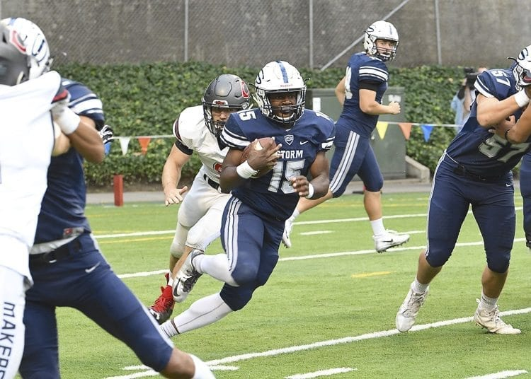 Skyview running back Jalynnee McGee rushed for 140 yards and a touchdown in the first half Friday against Camas. Unfortunately for the Storm, an injury forced him to the sideline in the second half. Photo by Kris Cavin