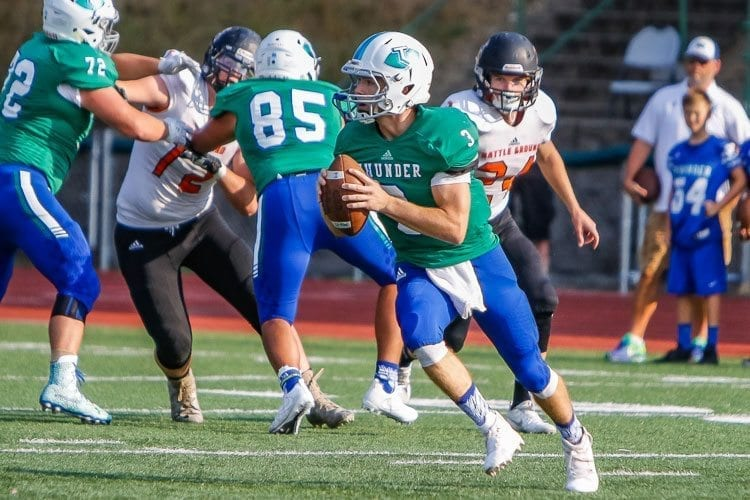 Mountain View quarterback Glen Perry Jr. (3) had another standout performance in last week's Thunder victory over Fort Vancouver. Photo by Mike Schultz