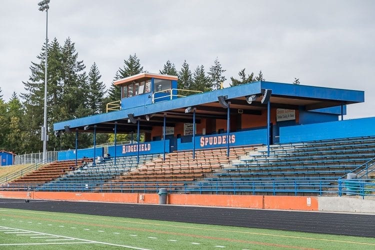 Ridgefield's grandstand will be full Friday when the Spudders try to defeat Columbia River in Week 9 for the second straight season. Photo by Mike Schultz