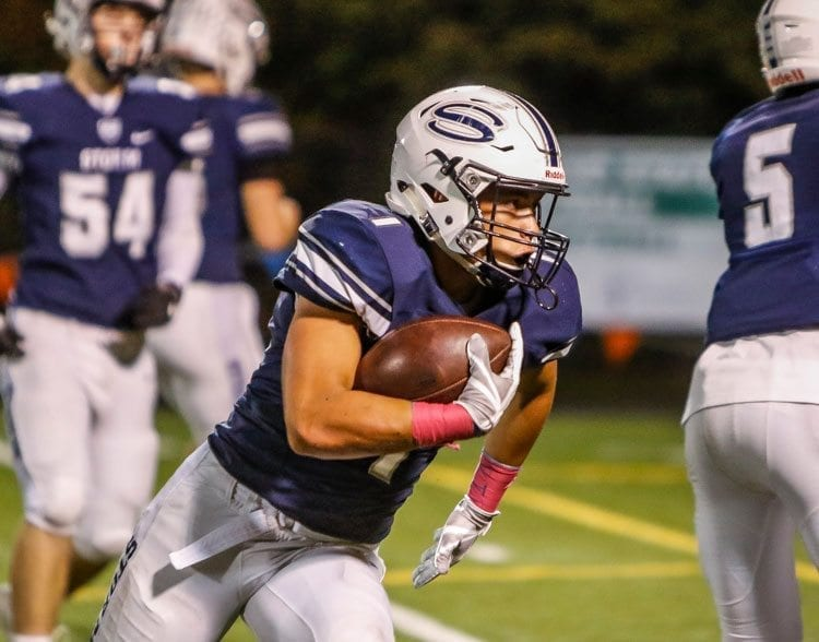 Skyview's Dyvon Green (7) is shown here carrying the football against Union earlier this season. The Storm offense had more than 500 yards in a season-ending win over Heritage in Week 9. Photo by Mike Schultz