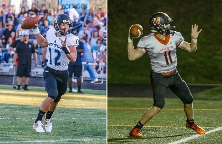 Hockinson quarterback Canon Racanelli (12) and Washougal quarterback Ryan Stevens (11) will go head-to-head Friday in matchup of unbeaten teams. Photos by Mike Schultz
