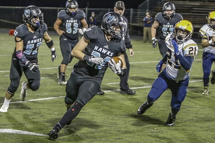Hockinson running back Bailey Jones (26) had 88 yards on just 10 carries in the Hawks' Friday win over Aberdeen. Photo by Mike Schultz