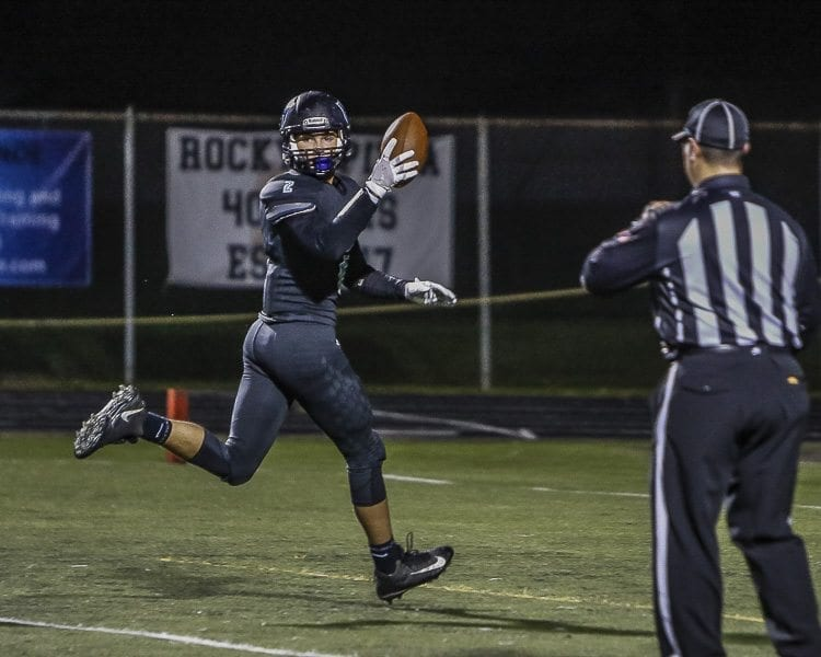 Hockinson tight end Jake Beslanovich (2) had three touchdown receptions in the Hawks' state qualifier playoff victory over Aberdeen Friday. Photo by Mike Schultz