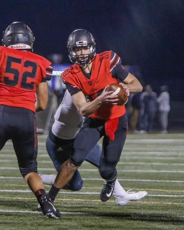 Camas quarterback Kyle Allen (14), shown here in a game earlier this season, threw for two touchdowns to help the Papermakers defeat Auburn Riverside in a Class 4A state qualifier game Friday. Photo by Mike Schultz