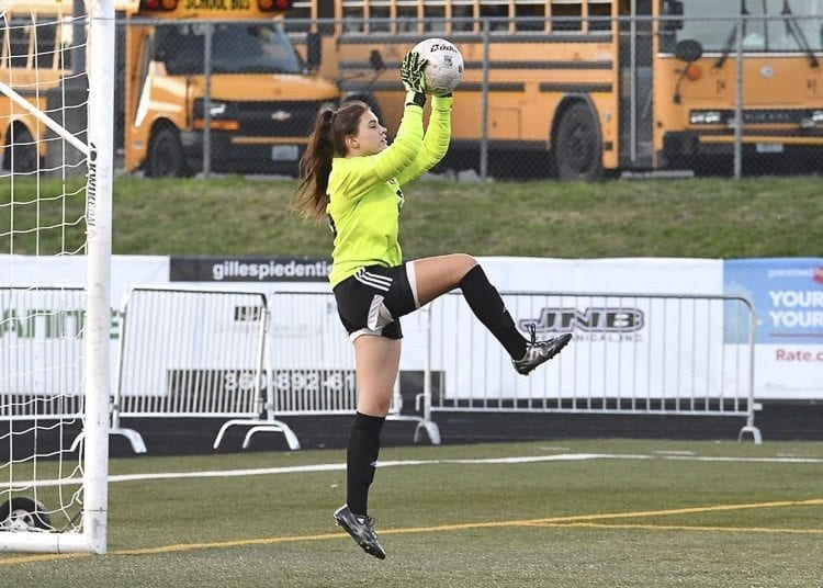 Camas goalkeeper Falissitie Depasquale said she values the program's core values as she pursues excellence on and off the field. Photo by Kris Cavin