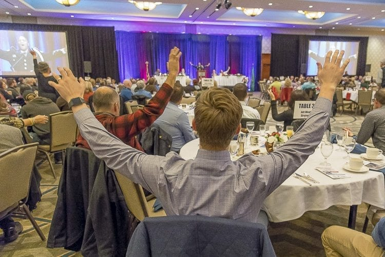At the 2017 Clark County Prayer Breakfast, area community members gathered to recognize local leaders and first responders, and pray together for the future of Clark County. Photo by Mike Schultz