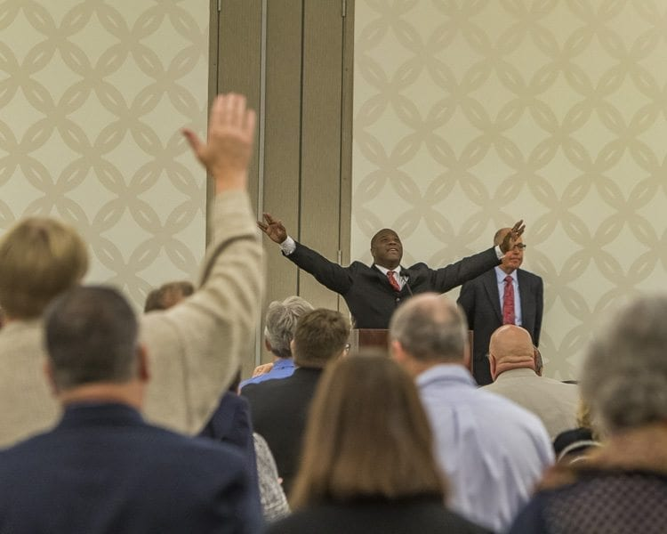 The Clark County Prayer Breakfast offers the chance to honor and pray for local leaders, officials, first responders and military personnel, as well as a chance for fellowship with others. Photo by Mike Schultz