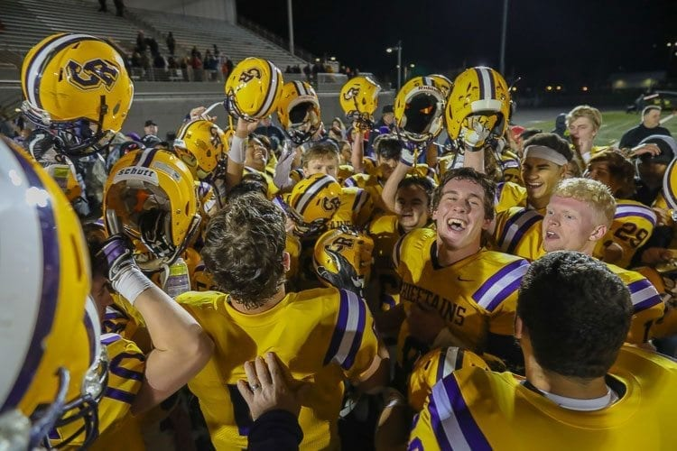 The Columbia River Chieftains were all smiles Monday after earning the Class 2A GSHL No. 2 playoff seed with a tiebreaker victory over Washougal and Woodland. Photo by Mike Schultz