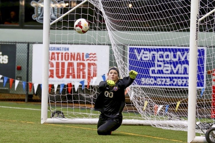Columbia River goalkeeper Liz Canton looks up after she saved a penalty kick Saturday in the Class 2A state quarterfinals. Her save put the Chieftains into position to win, to return to the state's final four. Photo by Dawn Anthony