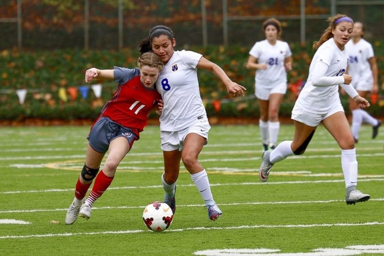 Columbia River's Yaneisy Rodriguez (8) was instrumental on defense, helping to hold Bellingham scoreless. Rodriguez also made her penalty kick. Photo by Dawn Anthony