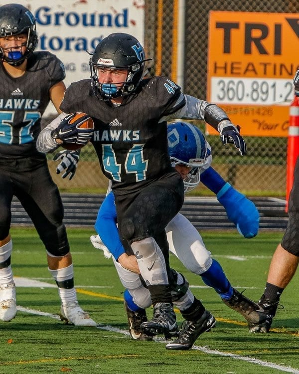 Hockinson's Colton Wheeler (44) not only has big plans for the Hawks in the Class 2A state football playoffs, he also has big plans for his life after high school. Photo by Mike Schultz