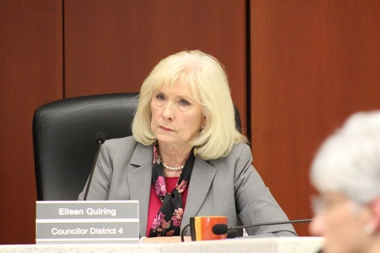 Council Member Eileen Quiring was the only dissenting vote to a land conservation ordinance, saying that a bond was not a financially wise decision for the county to make at this time. Photo by Alex Peru
