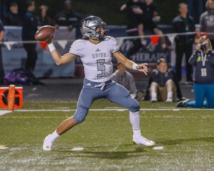 Union quarterback Lincoln Victory (5) led the Titans to the Class 4A Greater St. Helens League title this season. He is ClarkCountyToday's 2017 Big School Player of the Year. Photo by Mike Schultz