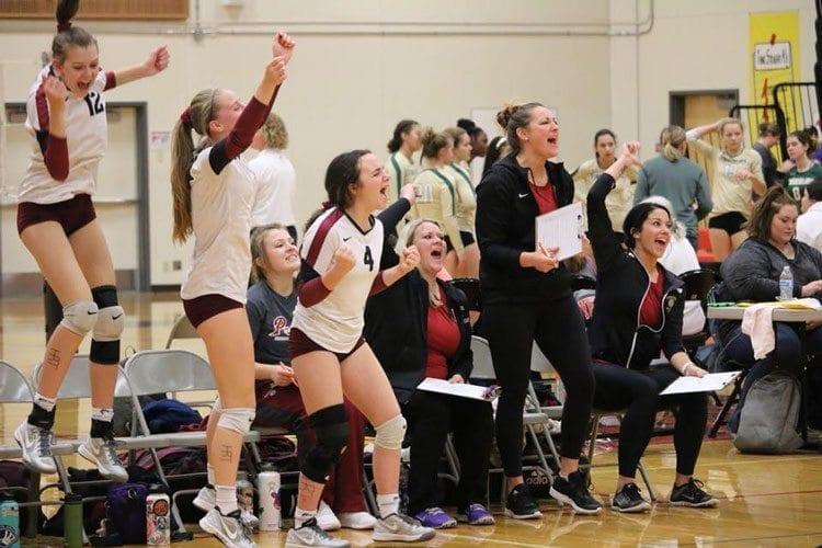 The Prairie Falcons fought their way through the Class 3A bi-district volleyball tournament last weekend and will now head to the state tournament at the Toyota Center in Kennewick this weekend. Shown here during a celebratory moment this past weekend are players Shelby Kocin (4), Rachael Hammes (seated), Jamie Packer (5) and Sophia Carter (12) and coaches (left-to-right) Rachel Reid, Katie Karcher and Jen Palmer (head coach). Photo courtesy of Amy Vroman
