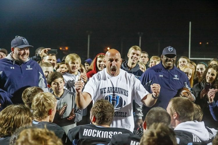 Rick Steele was an assistant coach at Hudson's Bay, La Center, and Prairie before starting the Hockinson football program in 2004. Now, he and the Hawks are preparing to play in the Class 2A state championship game Saturday in the Tacoma Dome. Photo by Mike Schultz