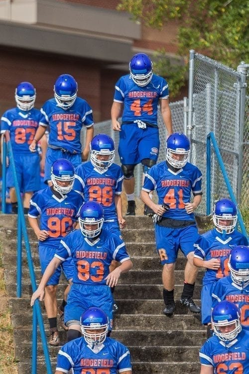 Ridgefield's football season began with hope but ended with an eight-game losing streak. Photo by Mike Schultz