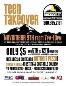 """Rocksolid Community Teen Center staff and volunteers invite all teens in grades 5-12 to attend """"Teen Takeover"""", an event to be held Thu., Nov. 9 at Rocksolid from 7-10 p.m."""