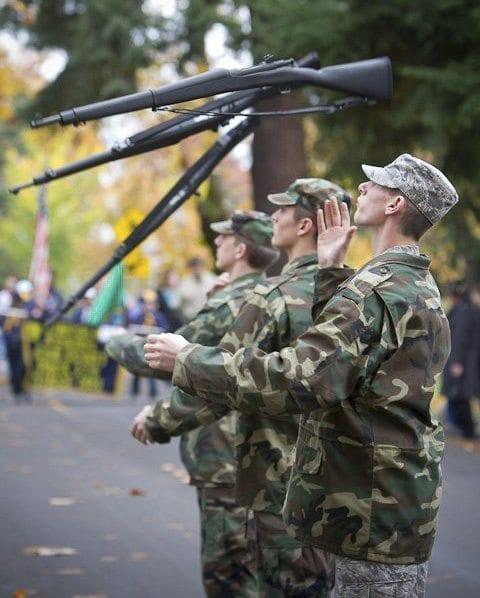 Community members from local community and veterans groups will be present during the parade. Photo by Mike Schultz