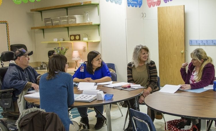 Woodland Public Schools' staff member Milagros Wells (second from right) offers free classes after school for her colleagues to learn conversational Spanish. Photo courtesy of Woodland Public Schools