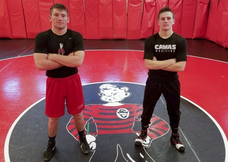 Samuel Malychewski, left, and Gideon Malychewski push each other to the limit, as only brothers can, while helping Camas wrestling to a lofty ranking. Photo by Paul Valencia