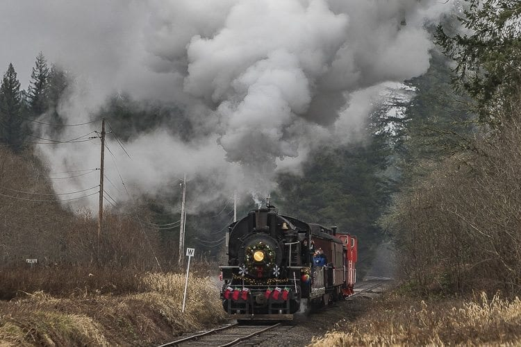 The Chelatchie Prairie Railroad's restored steam train ran from Yacolt to Moulton Falls and back to Yacolt for a Christmas excursion over the weekend. Photo by Mike Schultz