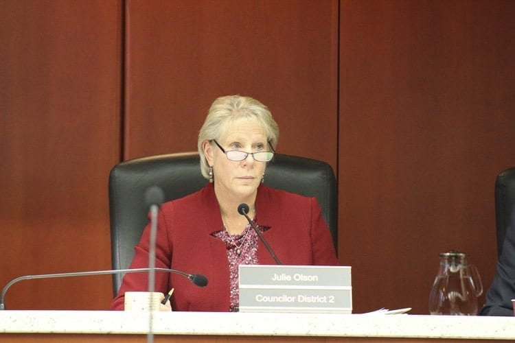 Council Member Julie Olson (shown in this file photo) said that while many people testified in favor of establishing a system of rates and charges to fund the Clark Conservation District, the board must represent all residents of the county that may not share the same support for funding the district. Photo by Alex Peru