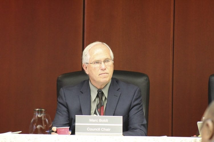 Clark County Board of County Councilors Chair Marc Boldt (shown in this file photo) said Tuesday that he believed a work committee should be formed to help the council determine the effects and benefits of levying a system of rates and charges to help fund the Clark Conservation District. Photo by Alex Peru