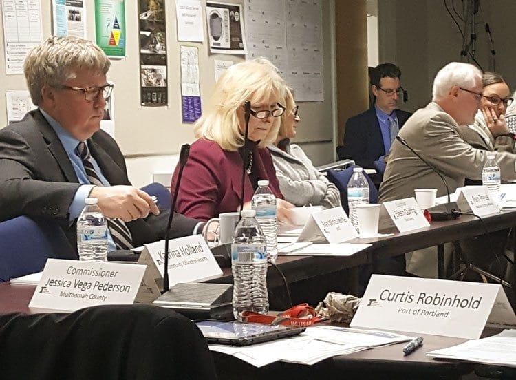 Clark County Councilor Eileen Quiring is shown here during Thursday's meeting of the Portland Region Value Pricing Policy Advisory Committee. Photo courtesy of Brook Pell