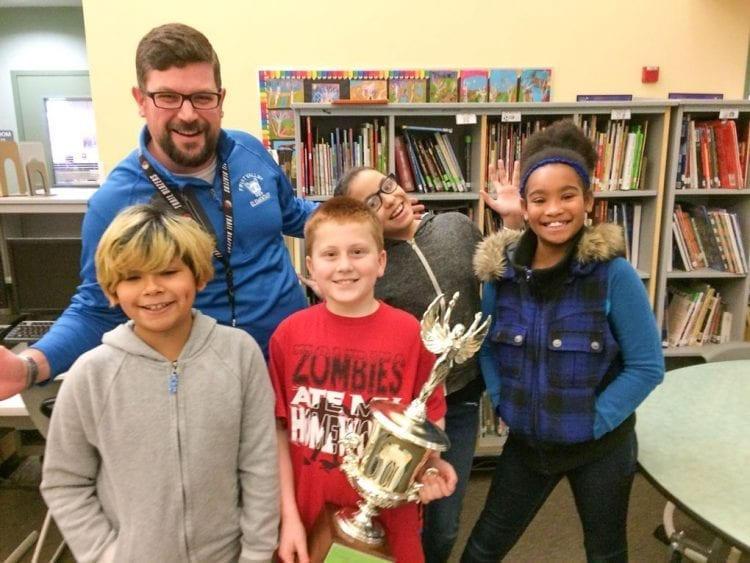 Students from Fruit Valley Community Learning Center, along with Principal Matt Fechter, celebrate after raising the most money per capita during Vancouver Public Schools' annual Student Chest Drive for the Foundation for VPS. Photo courtesy of Foundation for Vancouver Public Schools