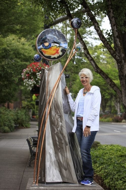 "Vancouver artist Sharon Agnor works with steel and cast glass to create large public sculptures such as ""Genisis."" Photo courtesy of Sharon Agnor"