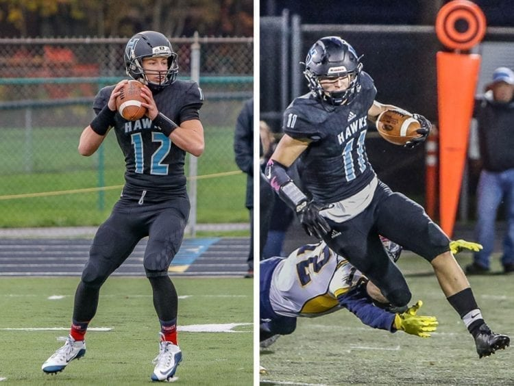 Sawyer and Canon Racanelli have dedicated their season to their grandfather, Roger Seekins, who died last spring. Roger's mom, Reha Seekins, has four great-grandchildren playing in state championship games Saturday. The Racanelli brothers in the Class 2A title game and Meridian quarterback Simon Burkett and his younger brother Grady in the 1A title game. Photos by Mike Schultz