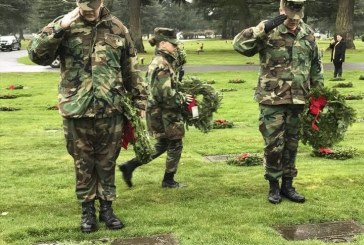 'They're not forgotten:' Young Marines place wreaths in remembrance of veterans