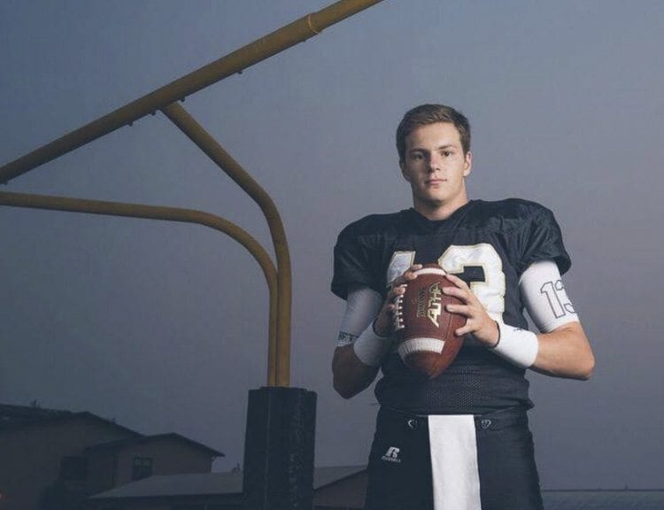 Simon Burkett, the quarterback for Meridian, is a cousin of Hockinson standouts Canon and Sawyer Racanelli. Hockinson will play for the Class 2A state championship at 10 a.m. Saturday. Meridian will play for the 1A title at 1 p.m. Photo courtesy of Jerilue Hopley