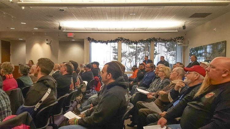 On Tuesday, unions and companies from across the region gathered at the Port of Vancouver's monthly Commissioners meeting in support of Vancouver Energy's Oil Terminal project. Photo courtesy of Brook Pell