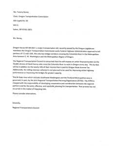 Port of Vancouver Commissioner Jerry Oliver's proposed letter to the Oregon Transportation Commission.