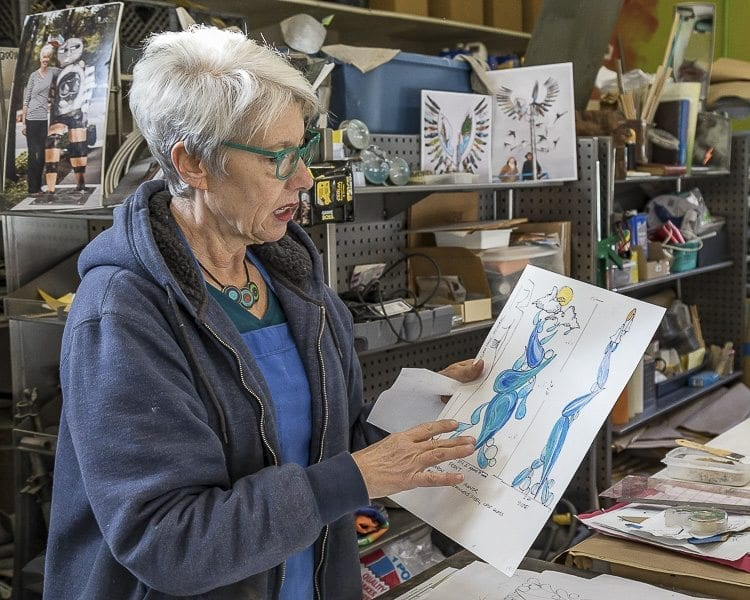 Sharon Agnor always creates a scale drawing of her works before building a scale model and then the full size work, to ensure all of the pieces will fit properly and look pleasing. Photo by Mike Schultz