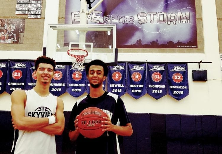 Alex Schumacher (left) and KB Fesehazion, along with the rest of the Skyview Storm, have started the boys basketball season with a 10-0 record. Together, they are trying to make school history this season. Photo by Paul Valencia