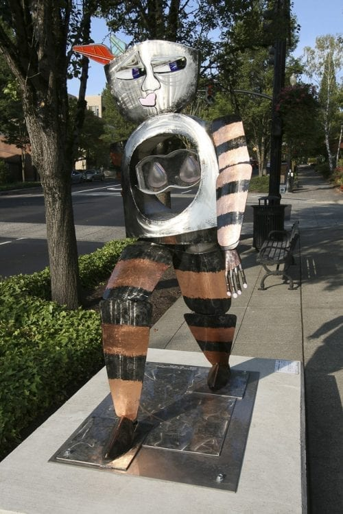 "Sharon Agnor's sculpture ""Walking Warrior"" is designed to reflect hope and resilience in the face of cancer, and reflects Agnor's desire for her art to address the realities of life but also provide hope. Photo courtesy of Sharon Agnor"