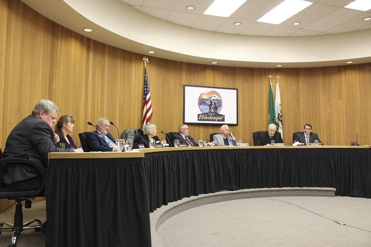 Members of the Washougal City Council voted Monday night to enact an emergency ordinance that restricts camping on public property in response to issues caused by homeless persons camping in front of public buildings. Photo by Alex Peru