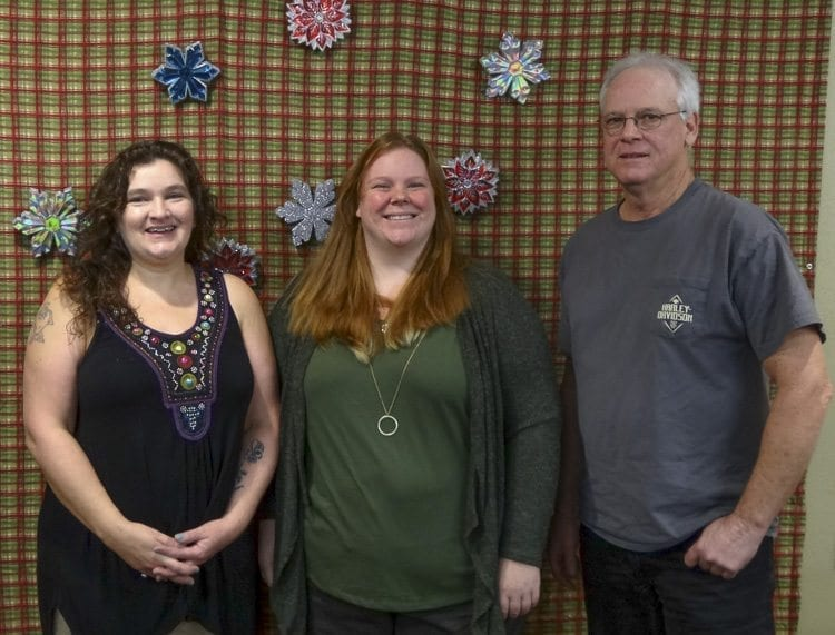 Malita Moseley, Amy Boget and Herbert Noble are three new members of the Yacolt town council, sworn in Monday night before the regular council meeting. Photo courtesy of David Ridenour