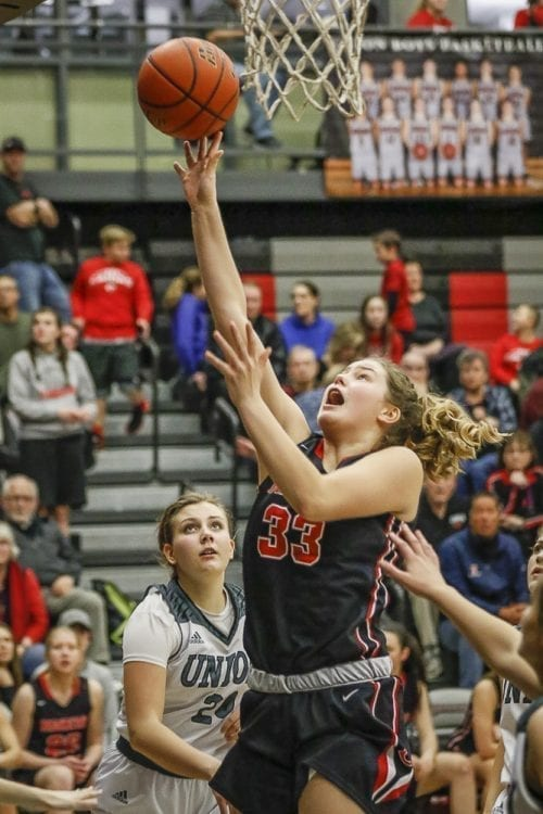Courtney Clemmer (33) scored 14 points Friday, leading a balanced attack for the Camas Papermakers in their 53-33 win over Union. The win clinched the 4A GSHL title. Photo by Mike Schultz